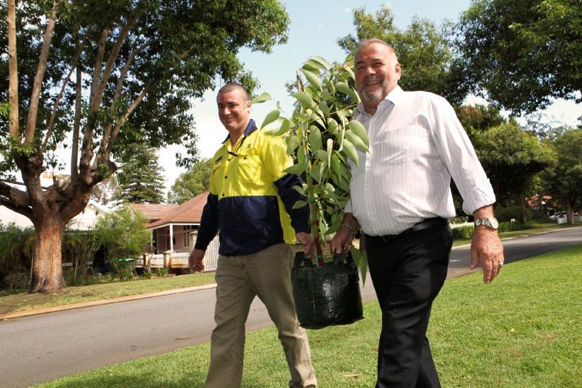 Mayor Giovanni Italiano with the City's Tree Services field officer Brendan Hogan