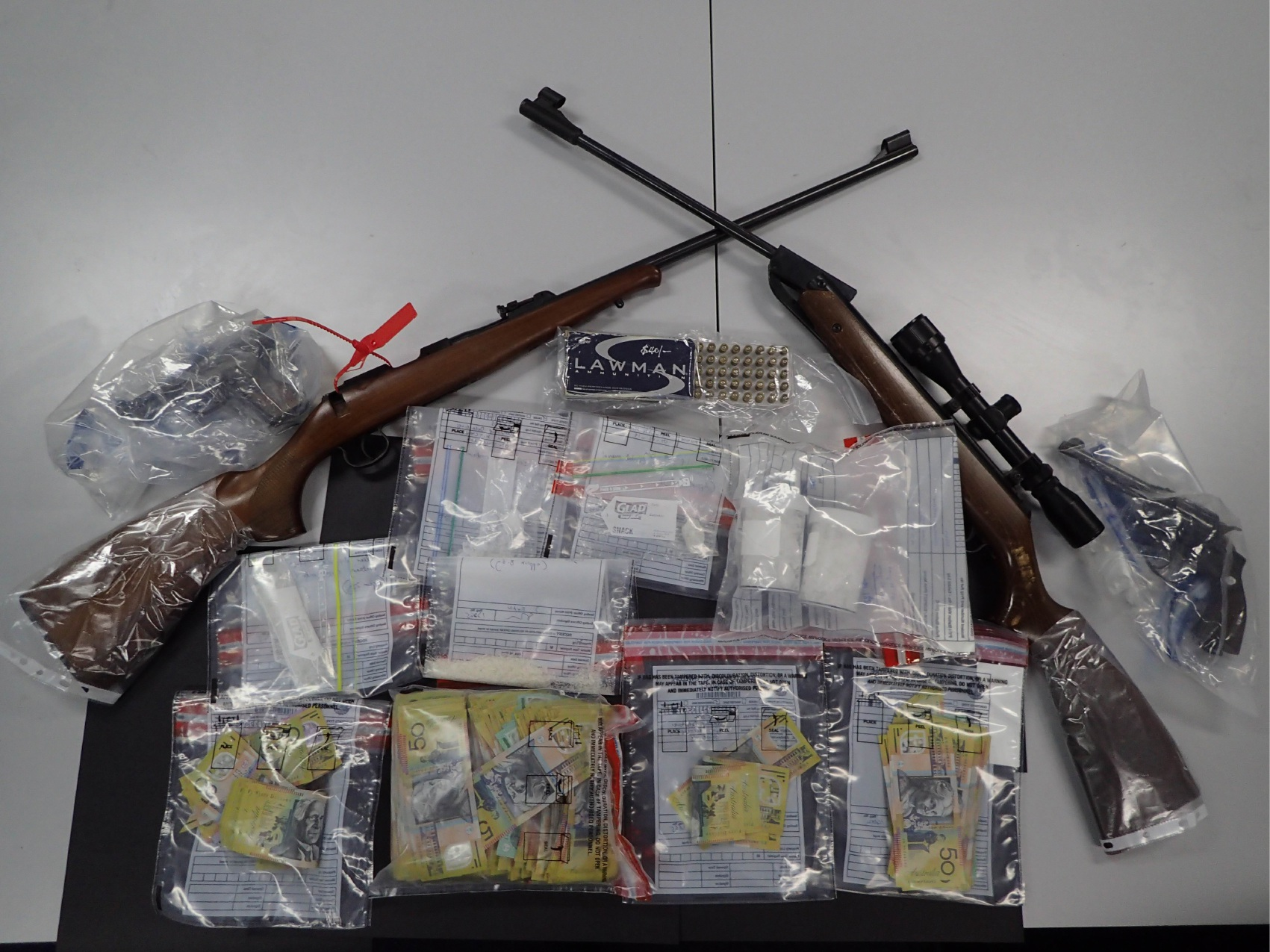 Items seized in the raid.