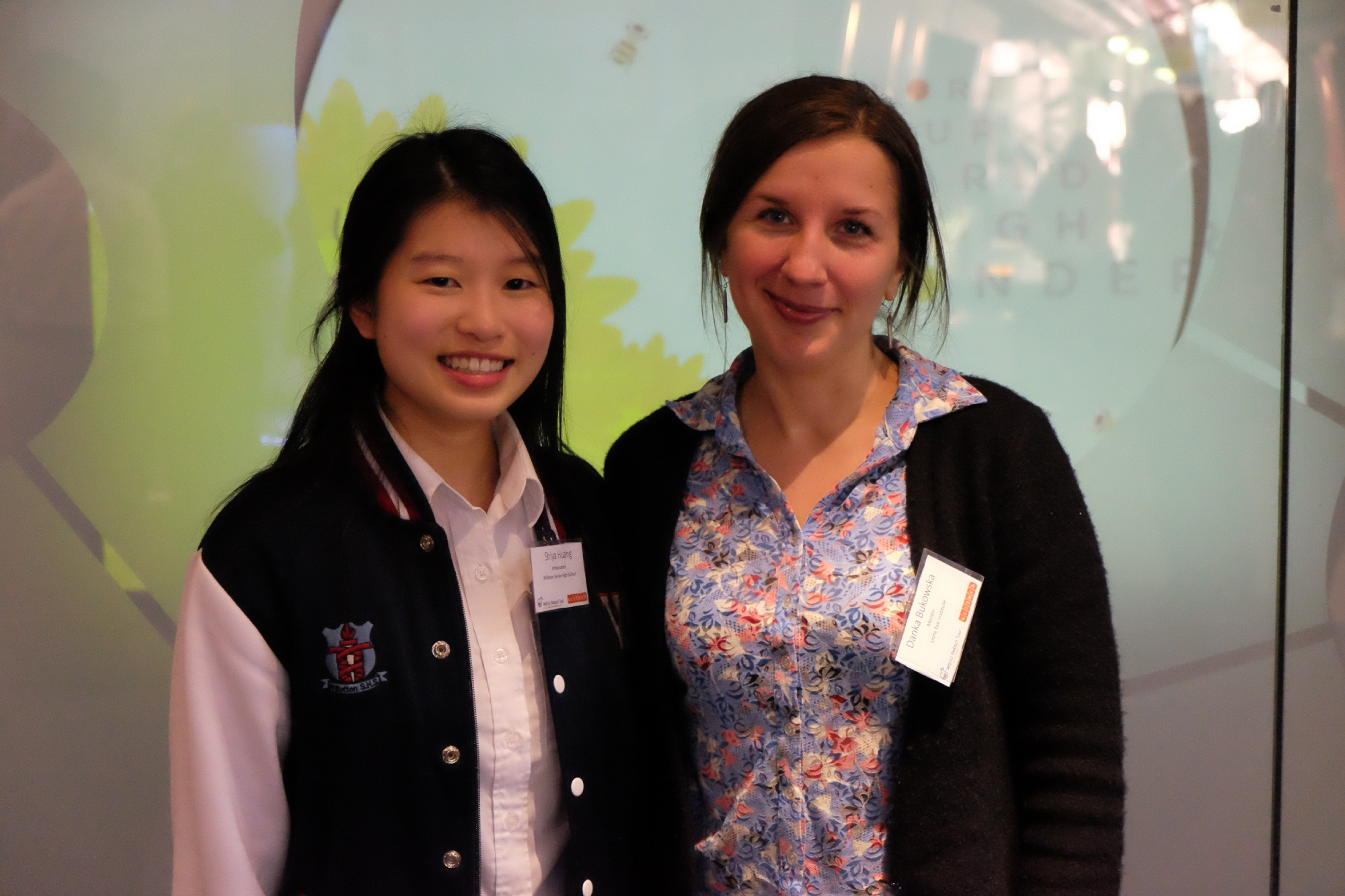 Shiya Huang (15) with mentor and research associate at the Lions Eye Institute Danuta Bukowska.