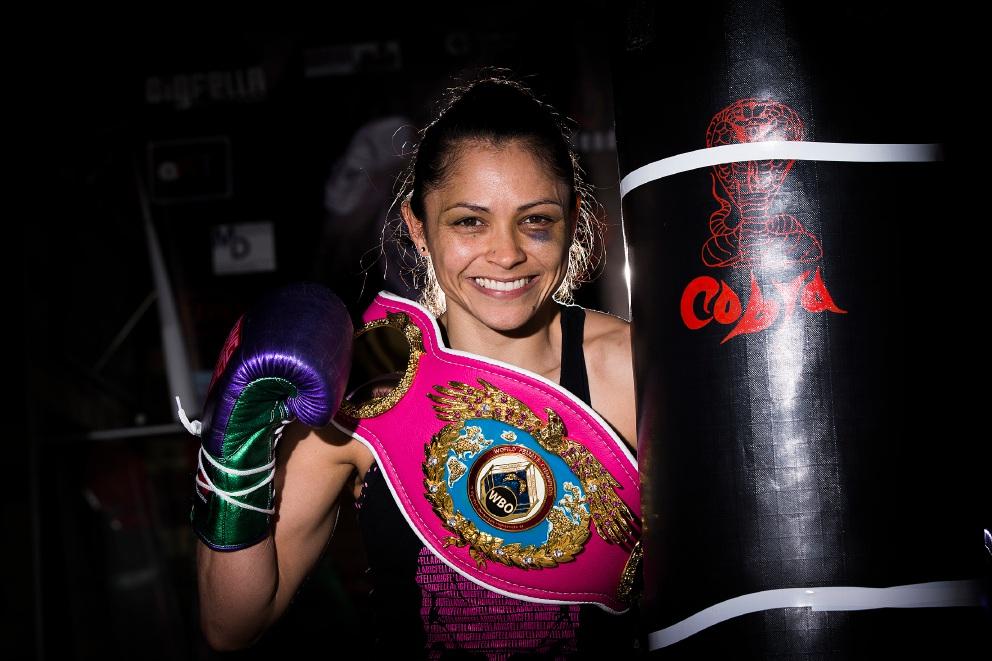 World Boxing Organisation light-flyweight champion Louisa Hawton at her Kardinya home gym.