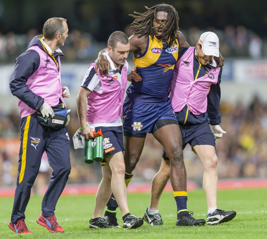 High-flying ruckman Nic Naitanui is unlikely to play for West Coast again this season after injuring his knee against Collingwood on Sunday. Picture: Dan White