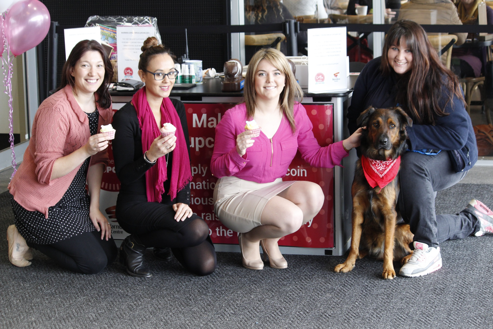 Marketing manager Taryn Palermo, retail manager Jasmine See, centre manager Alison Broadbent and Zedd with his owner and RSPCA animal attendant Rachel Higgs.