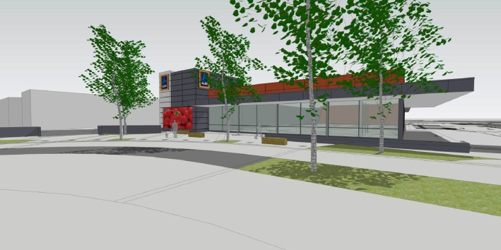 Design of the approved Aldi store in Banksia Grove.