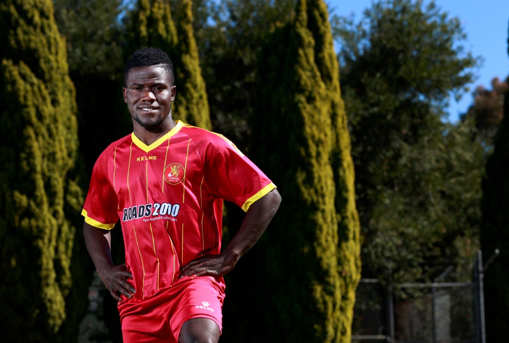 On his A game: Soccer player Teeboy Kamara hopes to make it back into the A-League.    Picture: Marie Nirme        www.communitypix.com.au   d458625
