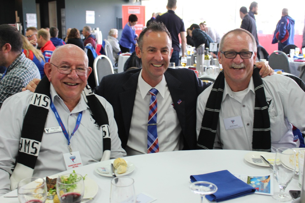 Swans director Peter Snow, West Perth president Brett Raponi and Swans president Peter Hodyl.