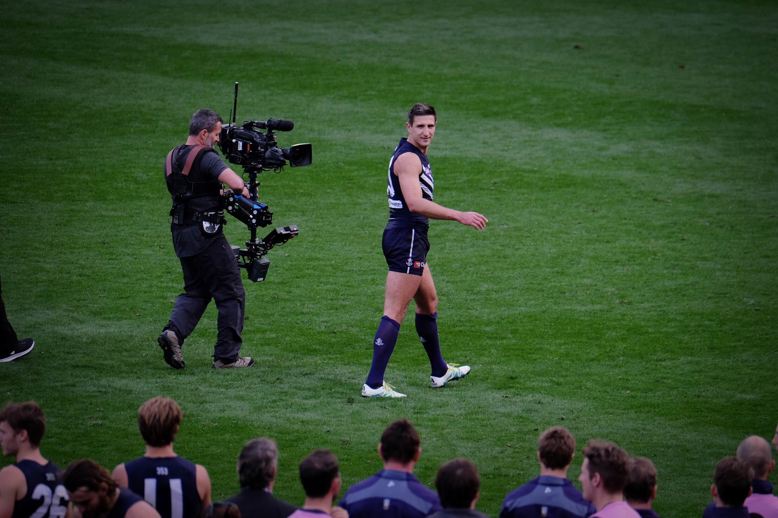 Matthew Pavlich leaves the ground for the last time. Photo: Andrew Ritchie