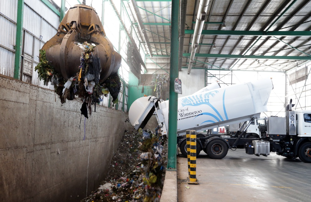 General waste being processed at the Neerabup composting facility.