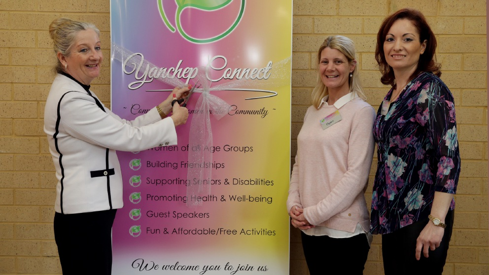 Sarah Bussell and Robyn Smith enjoy the morning. Wanneroo Mayor Tracey Roberts with Dyan Moore and Laura Simon at the launch of Yanchep Connect. Pictures: Martin Kennealey   d458240