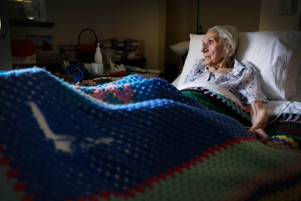 After the government cut $1.2 billion in funding, 93 year old Irene Wilkinson (pictured) has a broken leg is unsure of the future of her health care. Picture: Andrew Ritchie