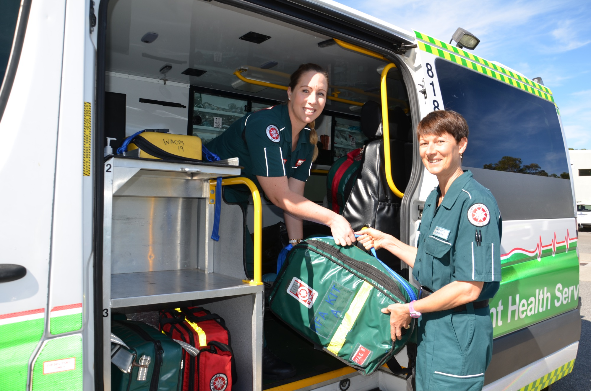 L-R: Melissa Rorke and Alex Maher from St John Ambulance prepare equipment for the Avon Descent. Photo: supplied