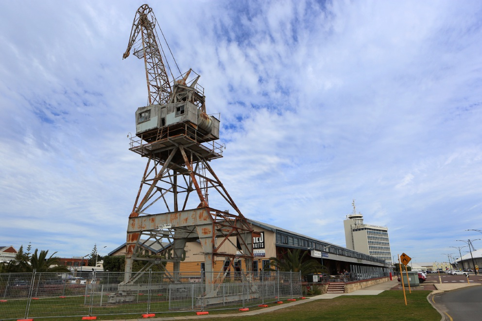 The old crane outside the E Shed Markets in Fremantle. Picture: Matt Jelonek