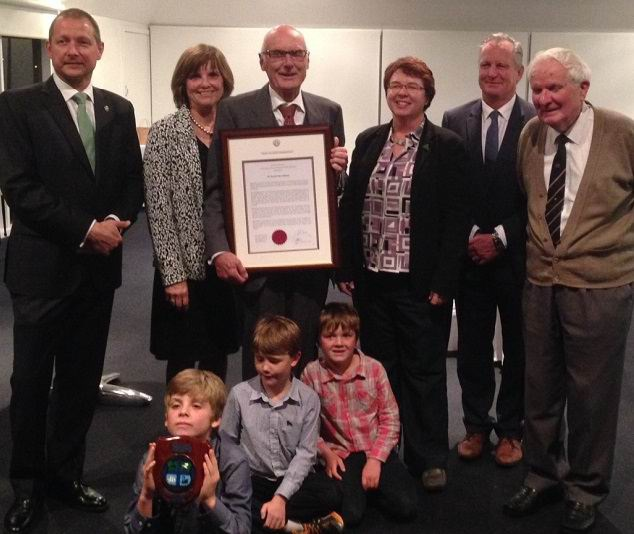 Left to right – Member for Bateman Matt Taylor MLA, Suzi Nelson, Freeman Dr David Nelson, South Metro MLC Lynn MacLaren, Mayor Jim O'Neill, Freeman Ian Handcock and (front row) Dr Nelson's grandsons.