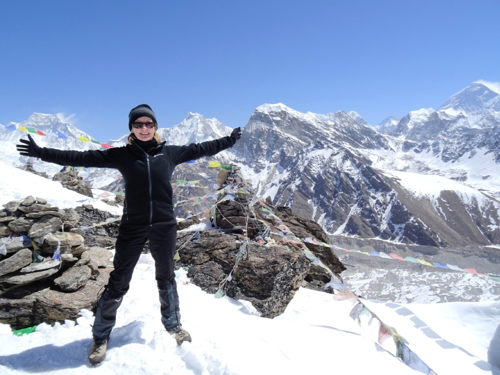 Pam Lynch on the summit of Nepal.