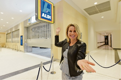Belmont Forum centre manager Alexandra McAuliffe at the front of the new Aldi store which opens tomorrow.