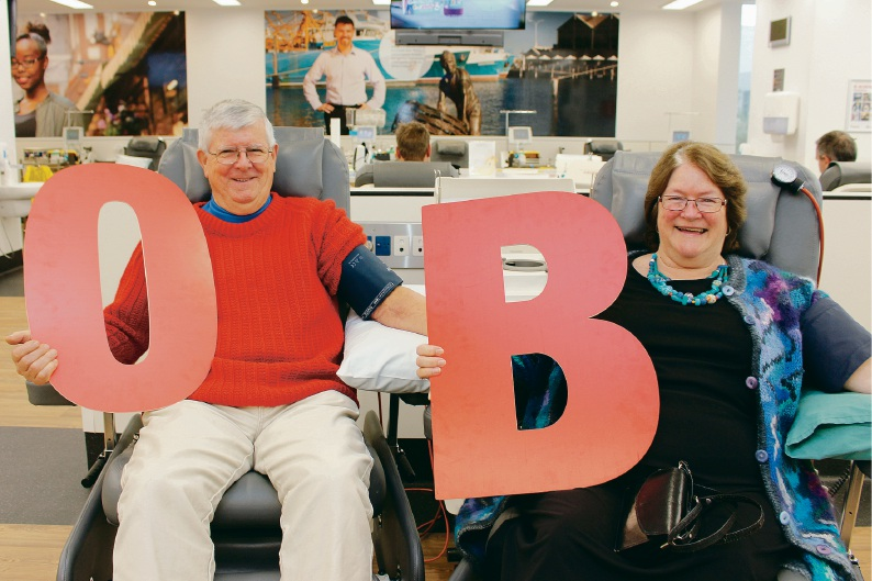 Richard and Beverly House give blood last week. The couple have donated more than 440 litres of blood, saving 2799 lives, over the past 41 years.