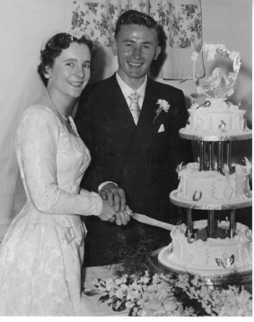 Joan and James Mullins on their wedding day in 1956.