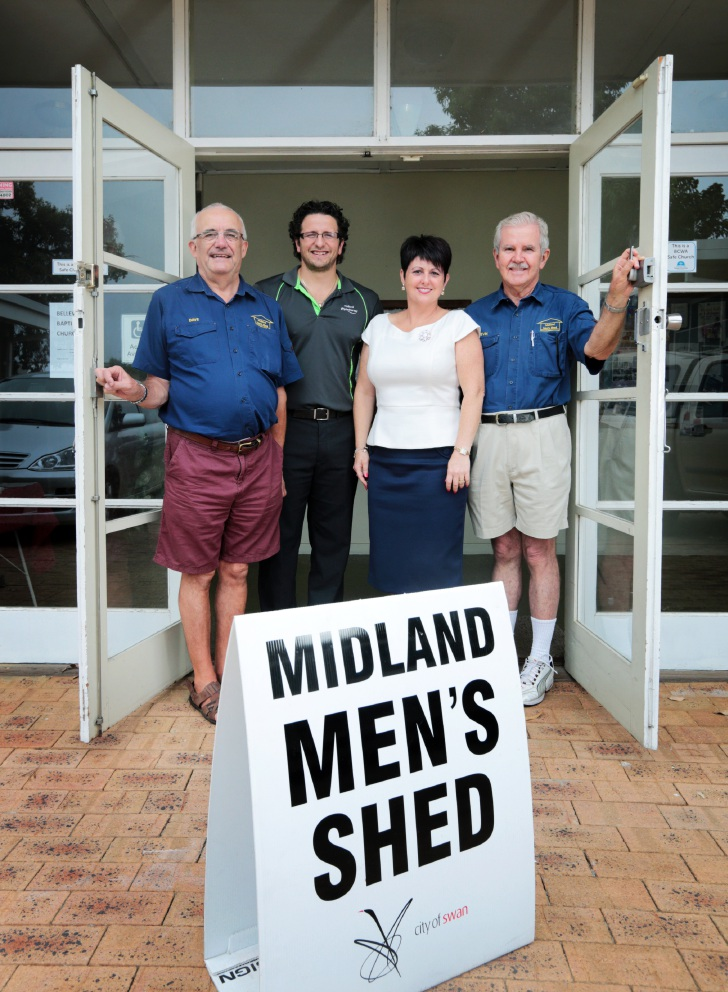 Dave Savage, Cr Daniel Parasiliti, East Metropolitan MLC Alyssa Hayden and Kevin Buckland in Bellevue at the temporary Shedders meeting space, which has lasted six years. Picture: David Baylis        d448478