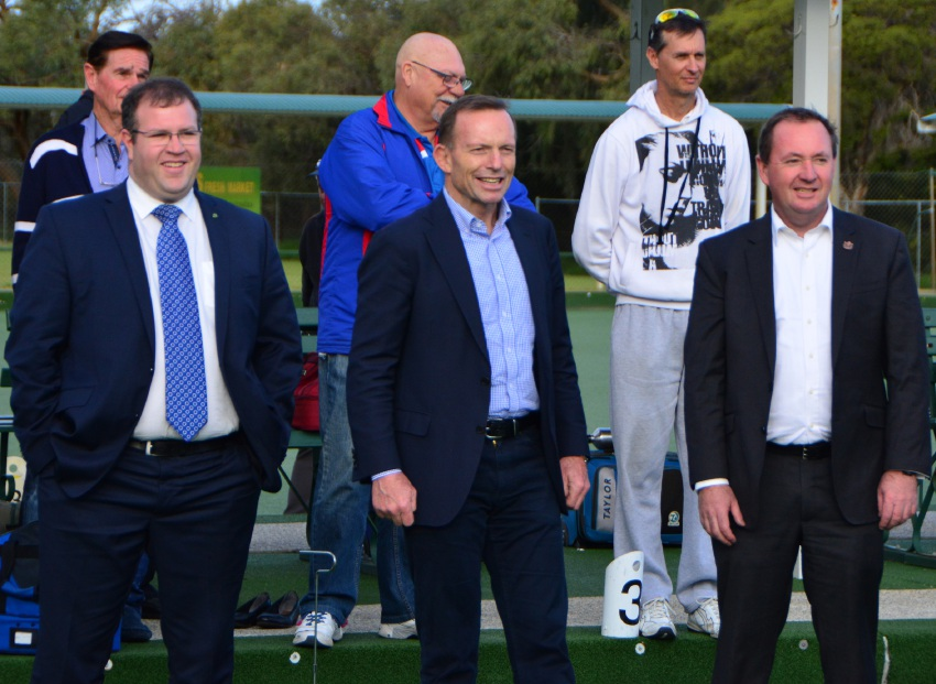 Member for Tangney Ben Morton, former Prime Minister Tony Abbott and Jandakot MLA Joe Francis at the club.