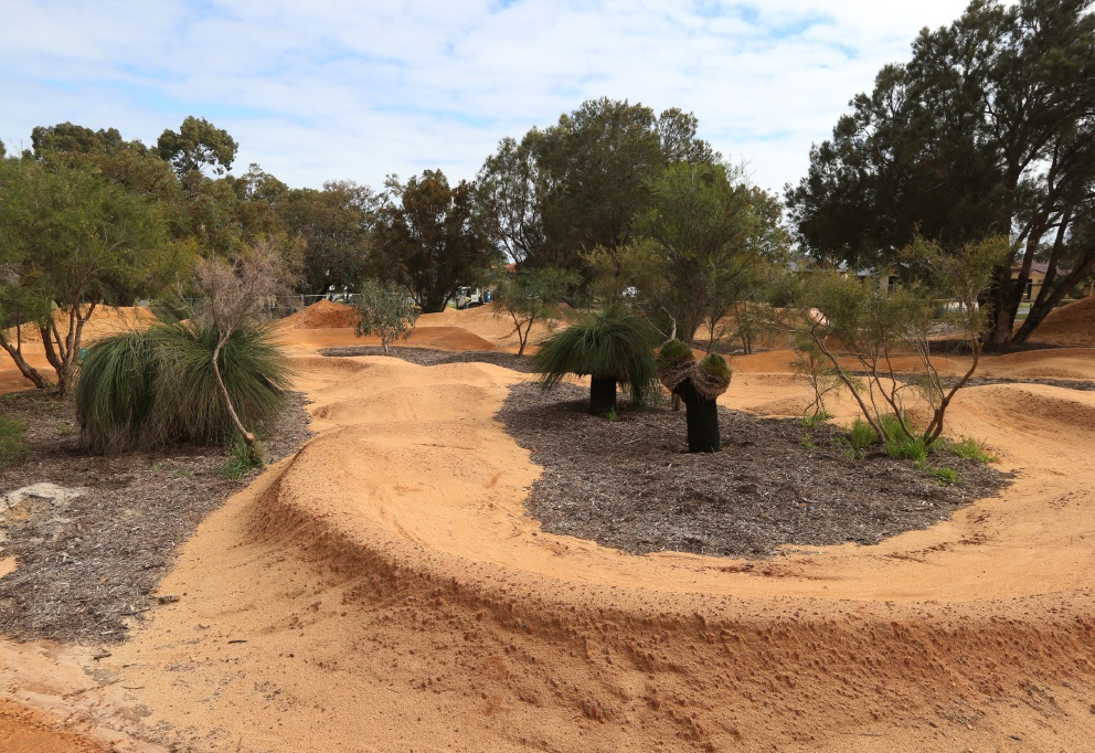 Work has restarted on the Houghton Park BMX track in Carramar. Picture: Matt Jelonek d458829