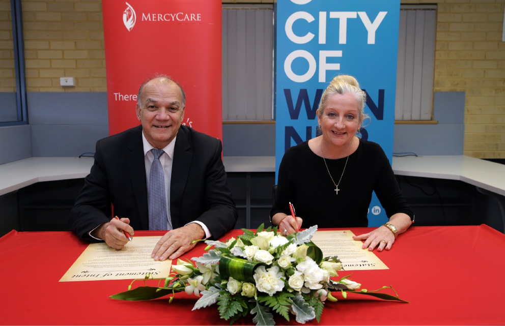 MercyCare chief executive Chris Hall with Wanneroo Mayor Tracey Roberts. Picture: Martin Kennealey  d458296