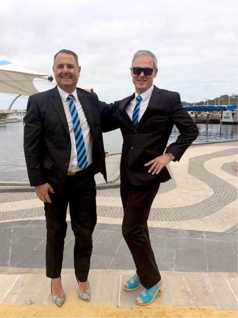 Harcourts Mandurah staff Paul Harris and Craig Timmens.