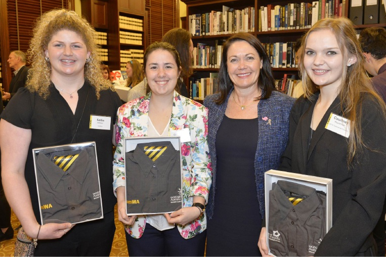 Sallie Brittain, Brittany Rose, Training and Workforce Development Minister Liza Harvey and Courtney Huyerman.