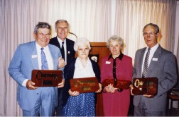 Vincenzo (Jim) Giglia (far right) receiving a plaque for 50 years of service to Wanneroo in 1992. Picture: Wanneroo Regional Museum's Community History Centre