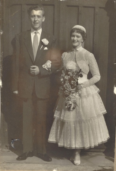 Happy anniversary: Raymond and Patricia Chapple on their wedding day in 1956.