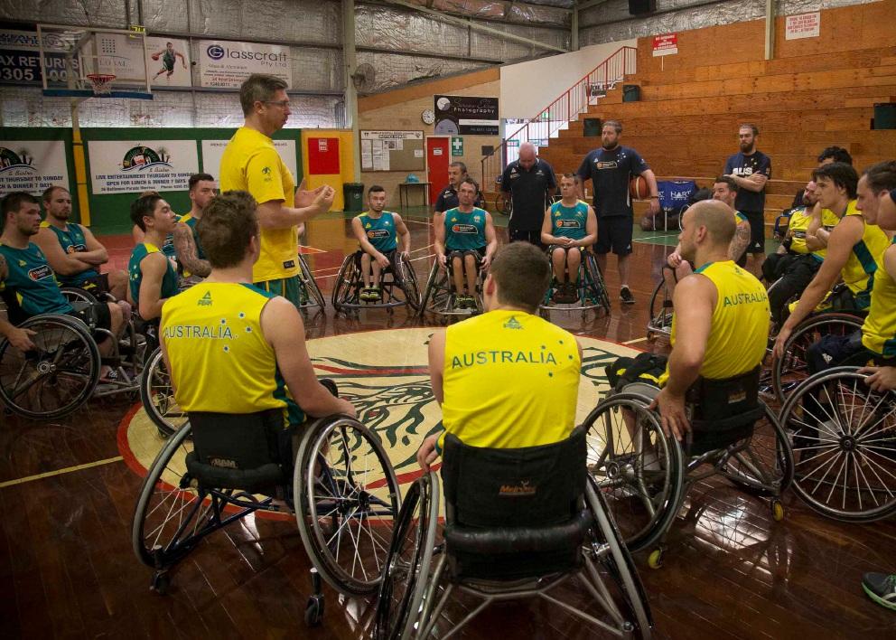 Australia coach Ben Ettridge addresses his players. Picture: Serene Maisey @ www.sephotography.com.au