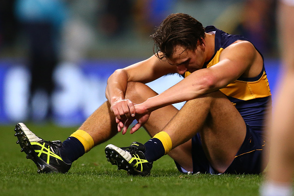Dom Sheed of the Eagles reacts after being defeated during the elimination final match between the West Coast Eagles and the Western Bulldogs at Domain Stadium. Picture: Paul Kane/Getty Images.