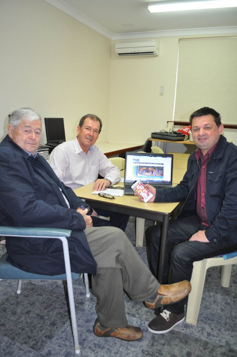 Shire President David Lavell (back) with Nick Elton and Peregrin Wildoak at the new Gadgets and Gizmos at The Hub of the Hills.