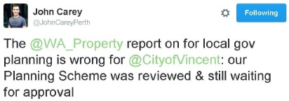 City of Vincent mayor John Carey shared his displeasure on Twitter.