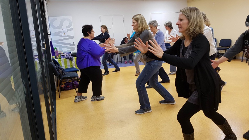 Heidi Durkin (next to Caroline) and Caroline Badminton (foreground) joined in the tai chi session.