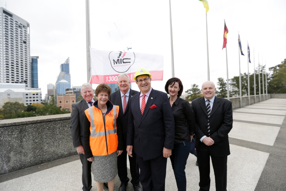 MATES in Construction chairman Colin Emmott, Mental Health MInister Andrea Mitchell, South West Region MLC Barry House, Mt Lawley MLA Michael Sutherland, MIC operations manager Chrissie Fearon and MIC director Kieron Gubbins. Picture: Andrew Ritchie        d459269