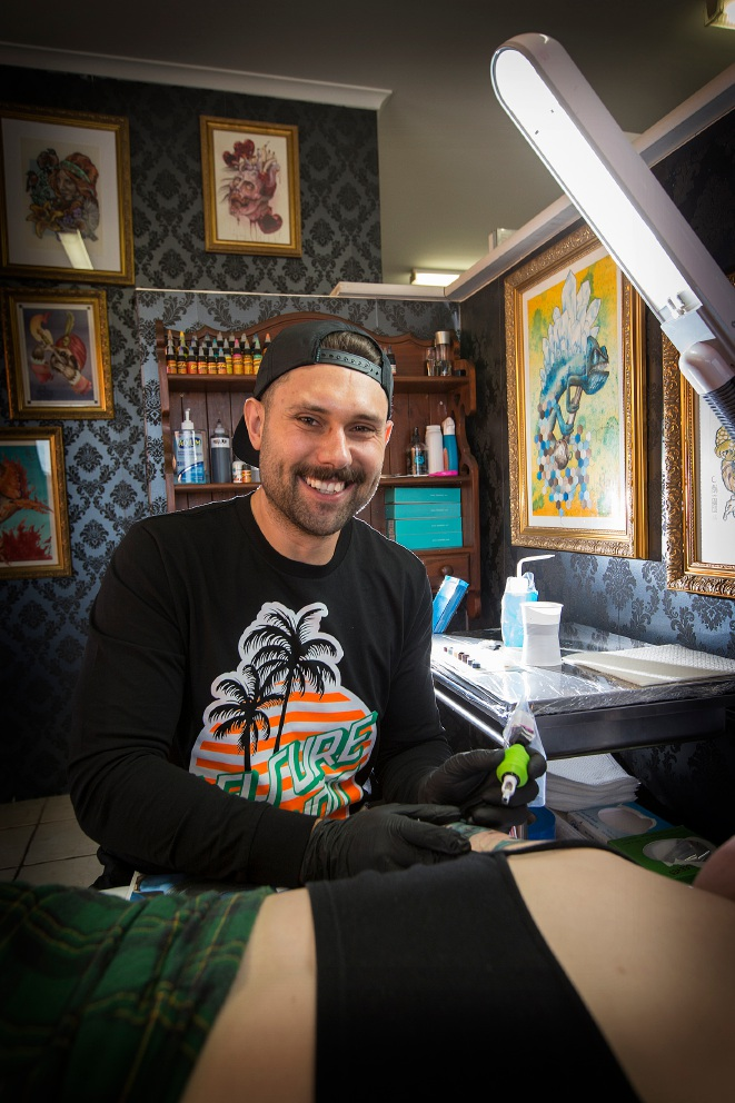 Tattoo artist Brodie Leisure. Picture: Will Russell        www.communitypix.com.au   d459062
