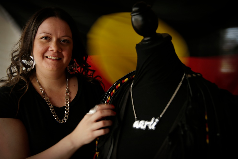 Teagan Cowlishaw is the brains behind the brand AARLI. She became the 2016 recipient of the Creative Enterprise Australia Indigenous Fashion Accelerator at Queensland University of Technology. Picture: Andrew Ritchie