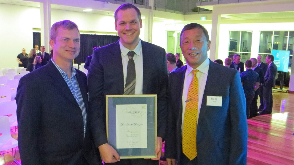 Dr Scott Draper (centre) with UWA colleagues Professor David White and Professor Liang Cheng. Picture: Tony Malkovic