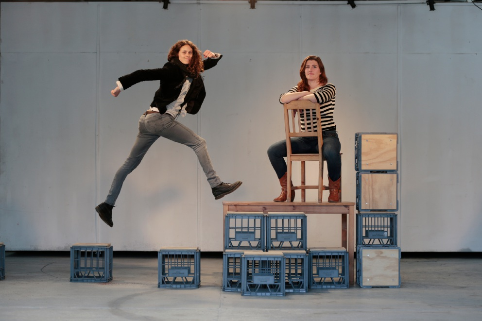 Bridget Le May and Cesarina Fitzgerald prepare for EDGE at Chrissie Parrott Art Space.