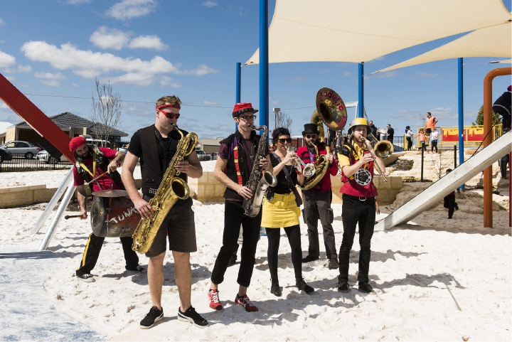 Performers Mick Brazel, Mitchell Boag, Dylan Hooper, Shannon Puig, Seb Davidson and Ned Holland at Robot Park.