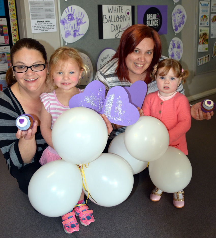 Donna Linden with Jade (2) and Kassandra Jones with Danika (1) at the White Balloon Day morning tea.