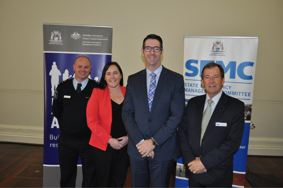 Chief bush fire control officer Mark Casotti, former communications co-ordinator Rebecca Noakes, chief executive officer Jonathan Throssell and Shire President David Lavell.