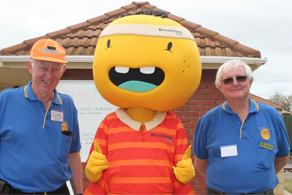 Brookfield's rail safety ambassador Jack with Rail Heritage WA volunteers Geoffrey Higham and Norm Chapple at last year's Railfest.
