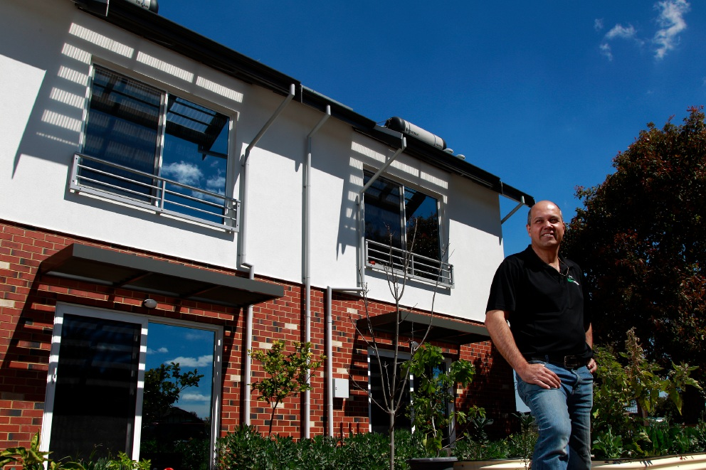 Wright Homes' Gary Wright in front of the company's award-winning development in Lathlain. Picture: Marie Nirme.