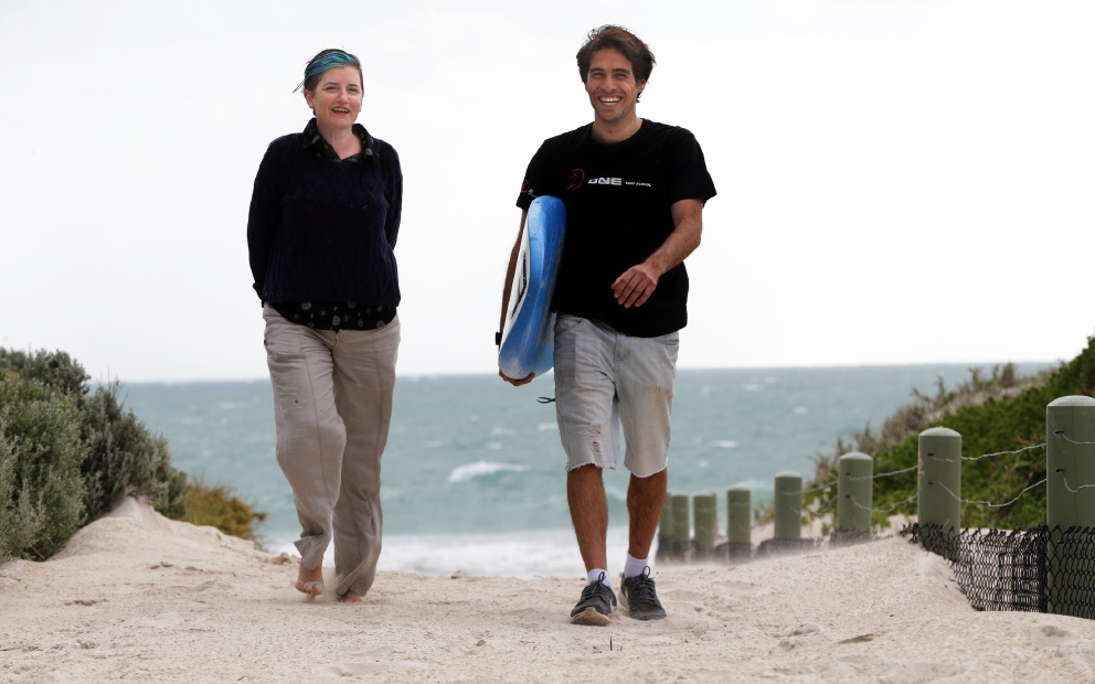 Carolyn Edwards and Daniel Orsi from i60 Community Services One Surf program.  Picture: Martin Kennealey        www.communitypix.com.au   d459238