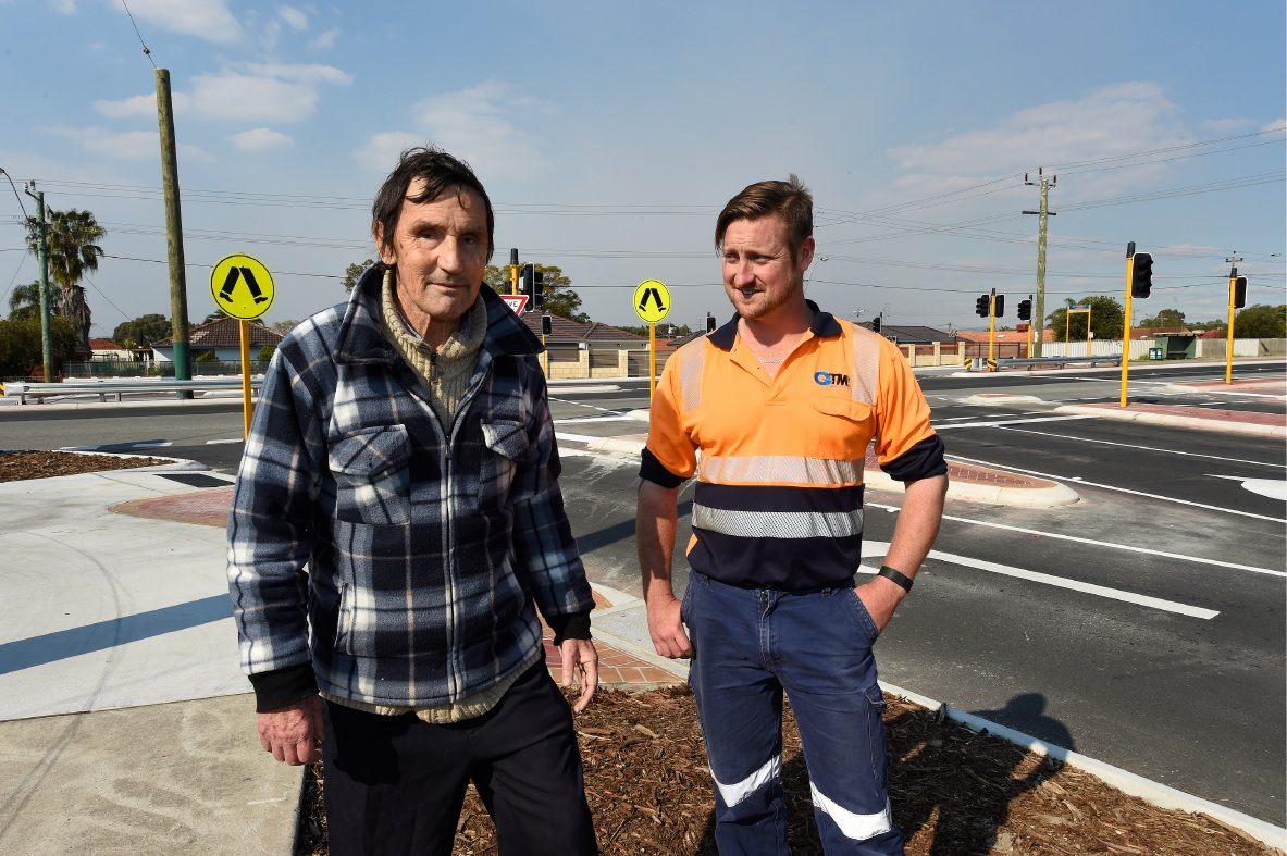 Langford resident Peter Fowler, left, and QTM operations manager Matt Bendall at one of the intersections. Picture: Jon Hewson        www.communitypix.com.au   d459512