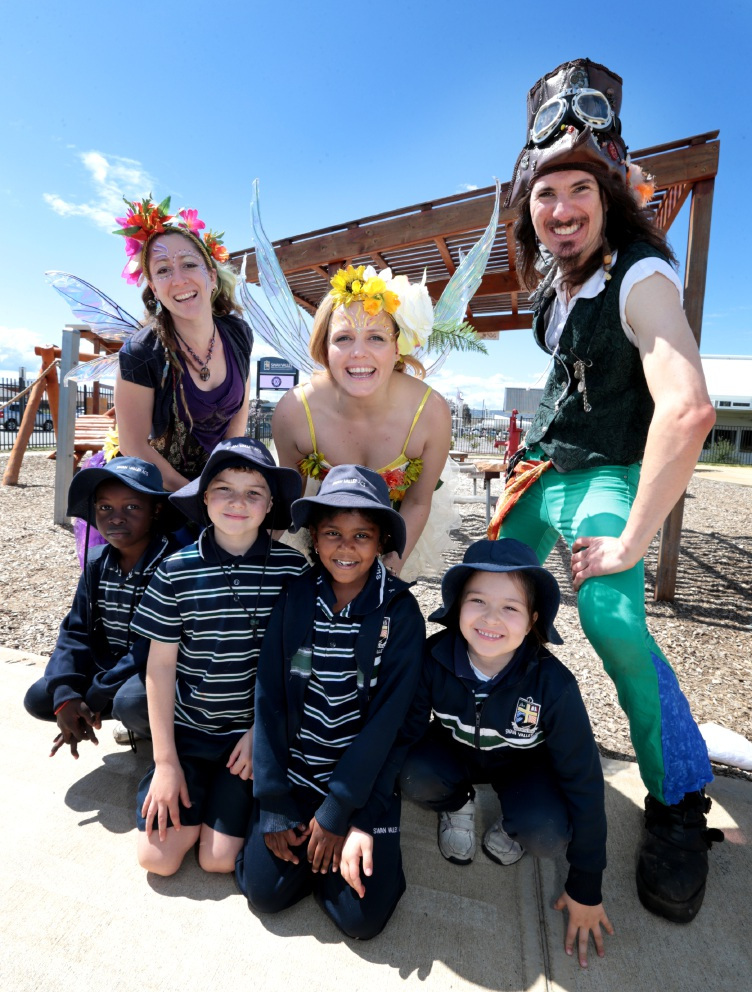 Faerie Sarah, faerie Kirstee and pirate Michael with (at front) Krissyn Gowera, Blake Colvin, Kristy Jestadi and Anna Lynn. Picture: David Baylis