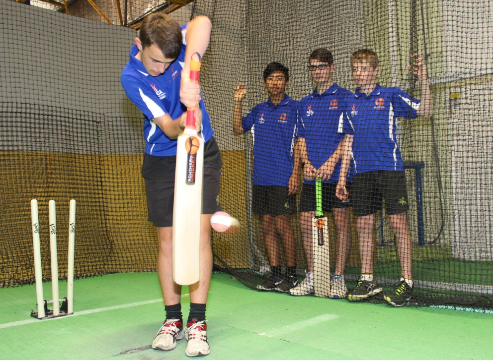 Lachlan MacKenzie, Alex Xiao, Nic Veletta and Lachlan Farrow get in some practice before their 24-hour batting challenge.
