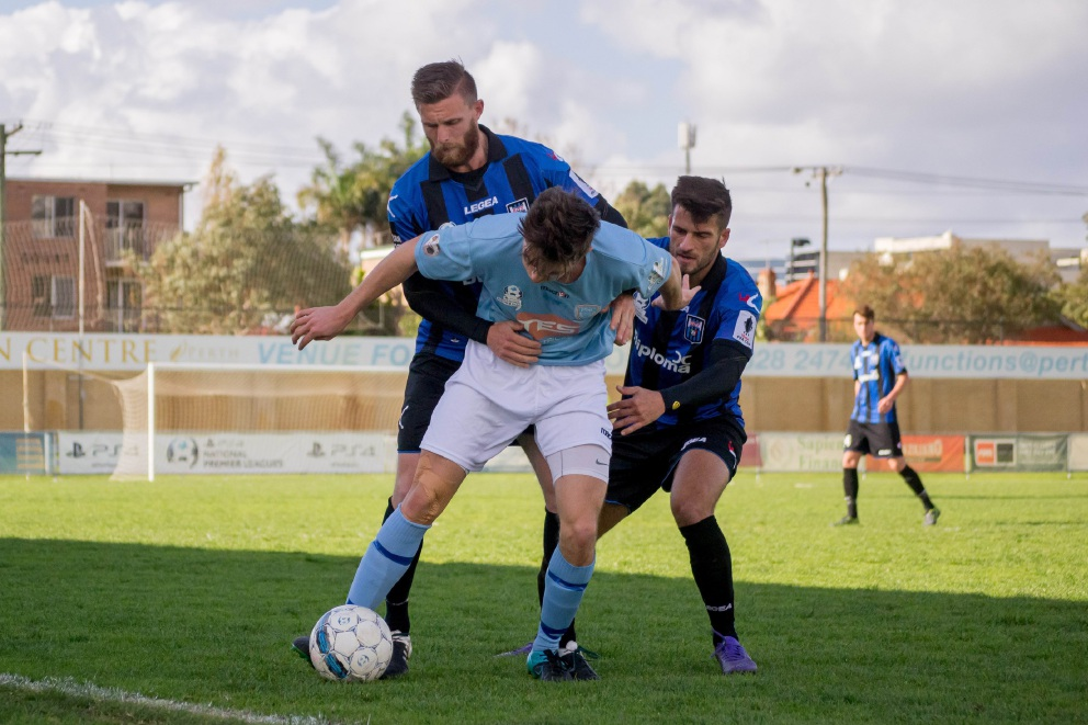 Andy Reale and Jason Mirco defending against Perth SC last weekend. Picture: Kate Jackson