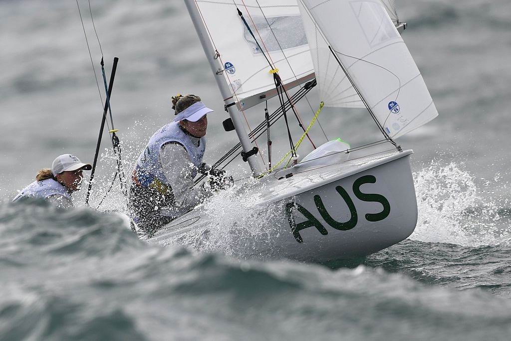 Australia's Jaime Ryan and Australia's Carrie Smith the 470 Women sailing class. Picture: William West/AFP/Getty Images