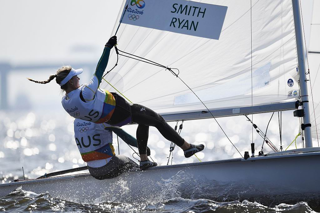 Carrie Smith and Jaime Ryan in the 470 Women competition. Picture: Getty Images